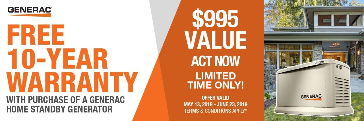 Free 10-year extended warranty with the purchase of a qualifying 11-22kW air cooled Generac generator