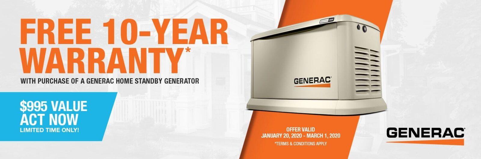 Free 10-Year Extended Warranty for Generac Generators